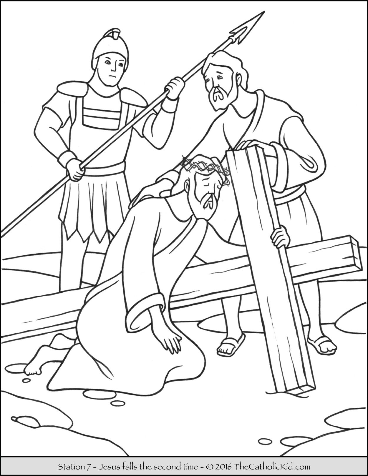 Coloring pages jesus on the cross - Stations Of The Cross Coloring Pages 7 Jesus Falls The Second Time