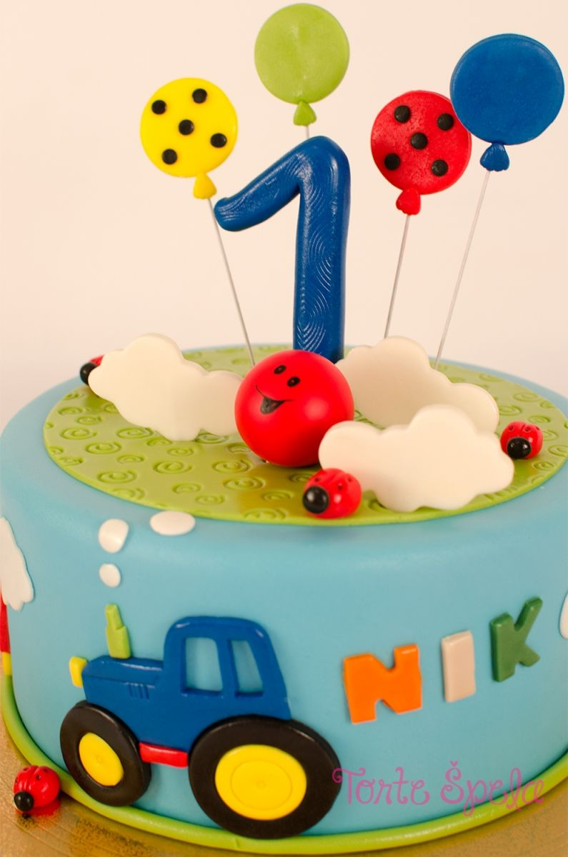 Traktor Z Baloni Kinder Geburtstag Essen Torte 1 Geburtstag