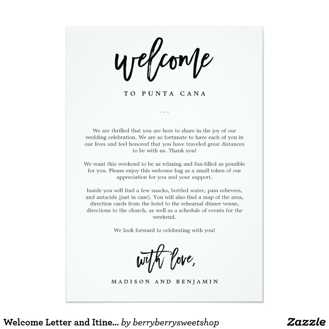 Welcome Letter And Itinerary Wedding Welcome Bag Card Z And P