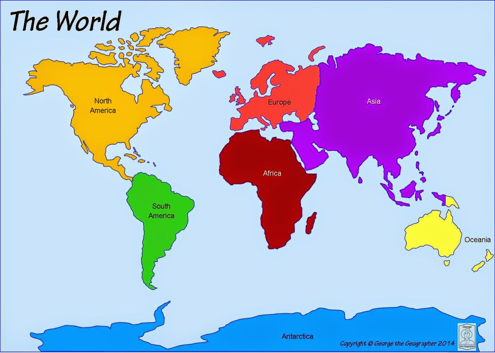 Printable World Map 7 Continents puter lab