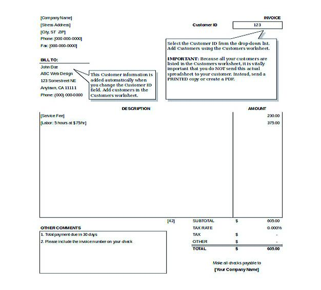 Invoice Sample format and Free Simple Invoice Template