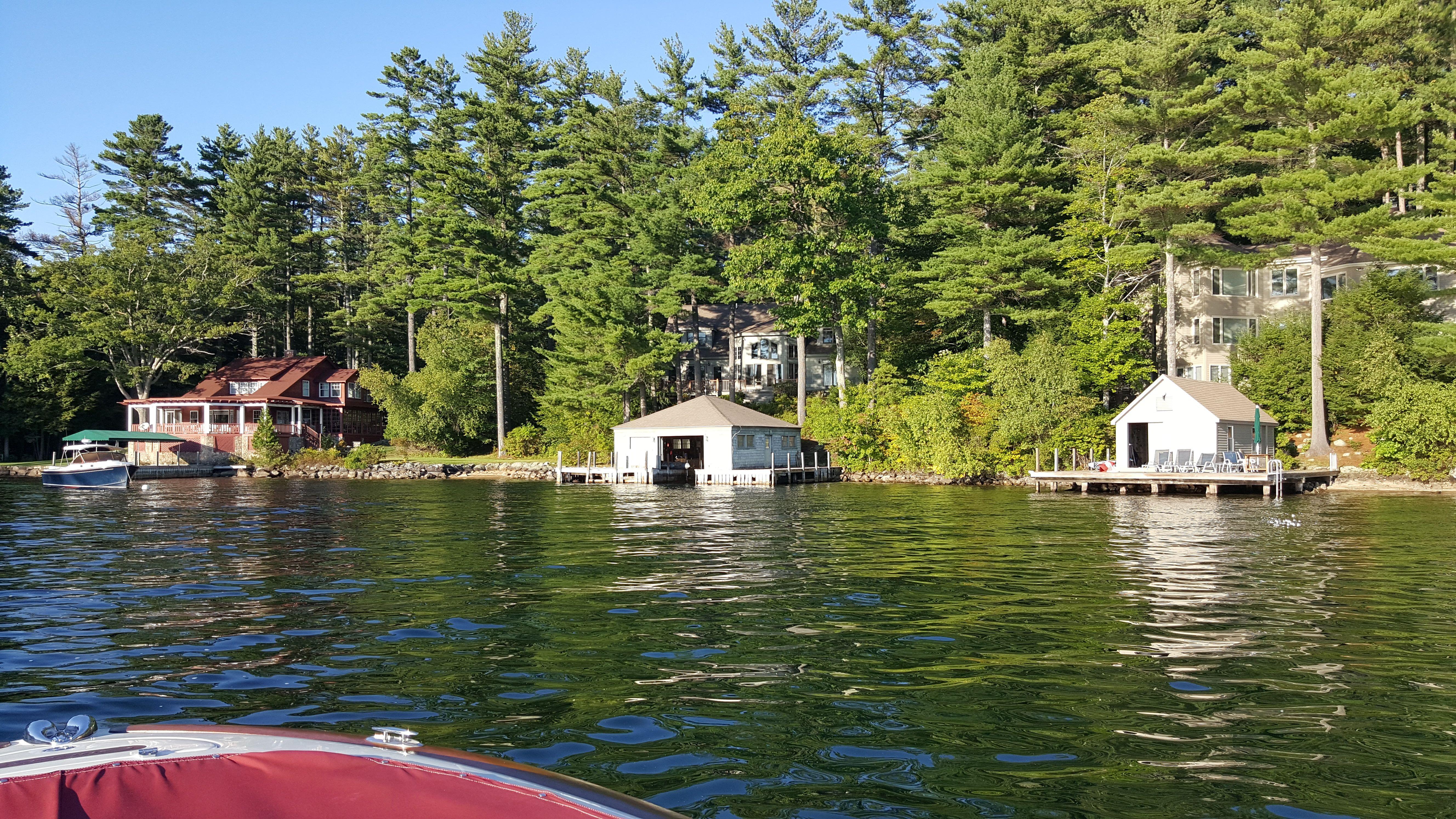Classic Sewall Road Wolfeboro waterfront homes on Lake