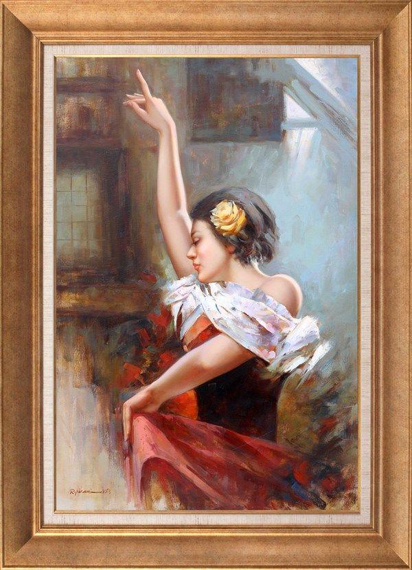 Resme baktığınızda Flamenko yapan kadının ayak seslerini ve İspanyol ezgilerini duyabiliyorsunuz değil mi? İranlı sanatçı Peri Pirani'nin klasik resim üslubu bu eserinde de bizi gerçeğin dinamizmi ile buluşturuyor.  Peri Pirani,