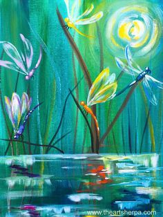 Dancing with Dragonflies easy acrylic painting tutorial for