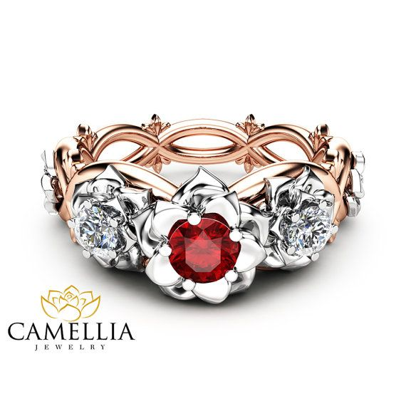 Three Stone Natural Ruby Engagement Ring Nature Inspired Ring in 14K Two Tone Gold Unique Floral Diamond Ring