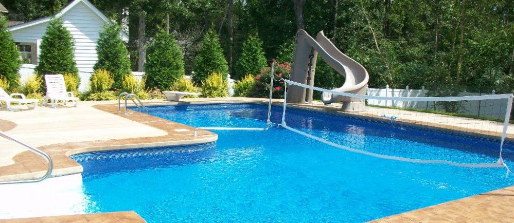 True El Pool With Slide Diving Board And Volleyball Net Vinyl Swimming Pool Pool Volleyball Net Swimming Pool Photos