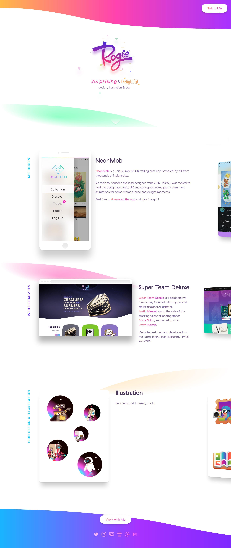 Dazzling One Page Portfolio Literally Bursting With Color For Designer Dev Rogie The Single Page Webs Web Design Web Design Inspiration Modern Website Design