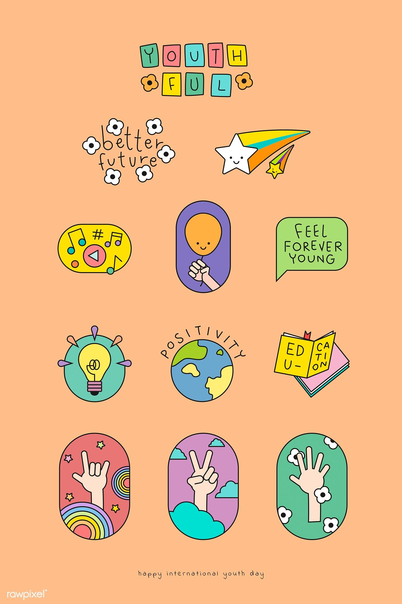 Download Premium Vector Of Happy International Youth Day Badges