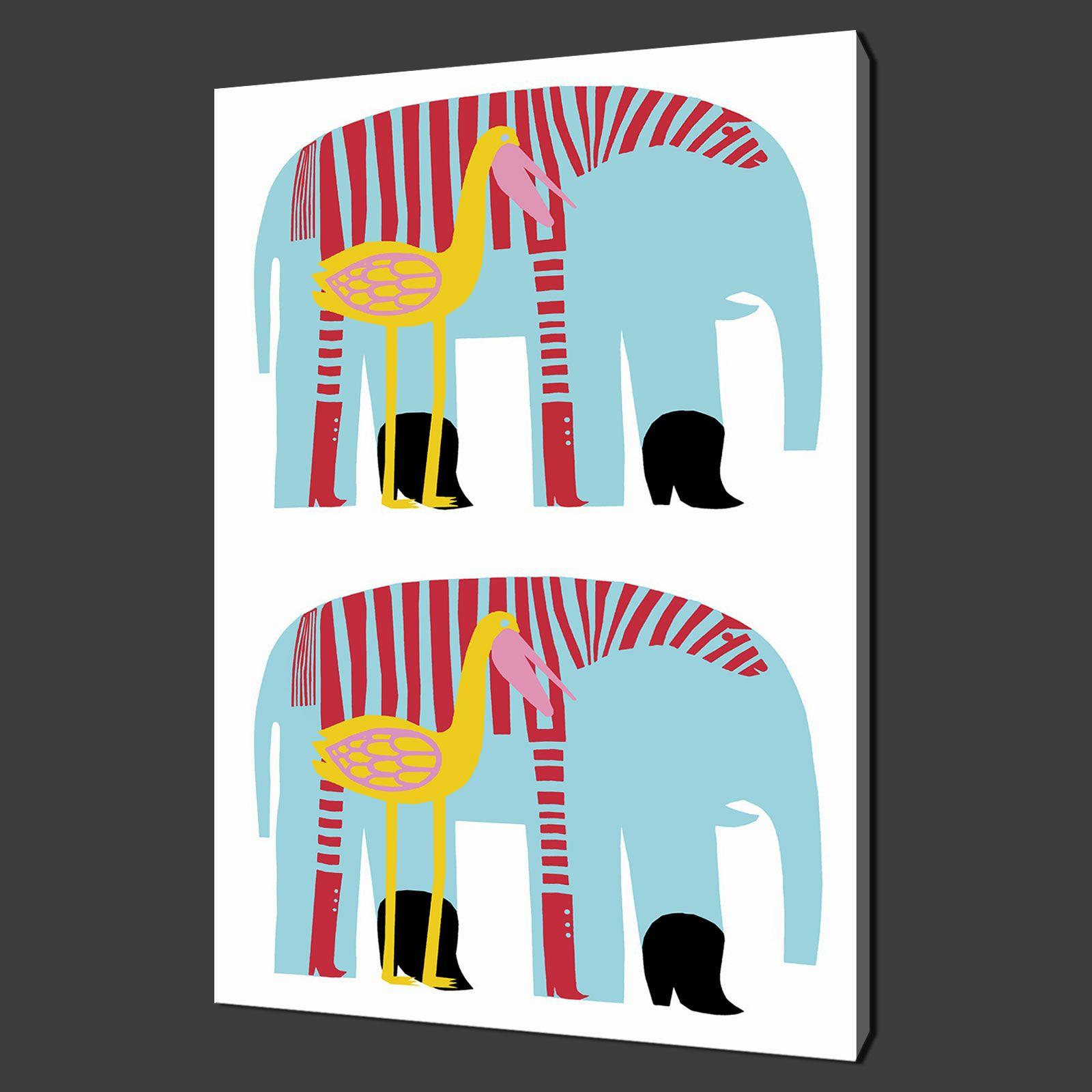 MARIMEKKO ELEPHANTS INSPIRED CANVAS PRINT KIDS ART MODERN DESIGN FREE UK P&P
