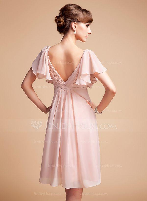 Empire Sweetheart Knee-Length Chiffon Bridesmaid Dress With Cascading Ruffles (007004126) - JenJenHouse