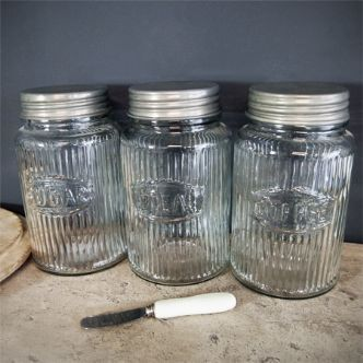 Set of 3 vintage glass Tea Coffee Sugar jars