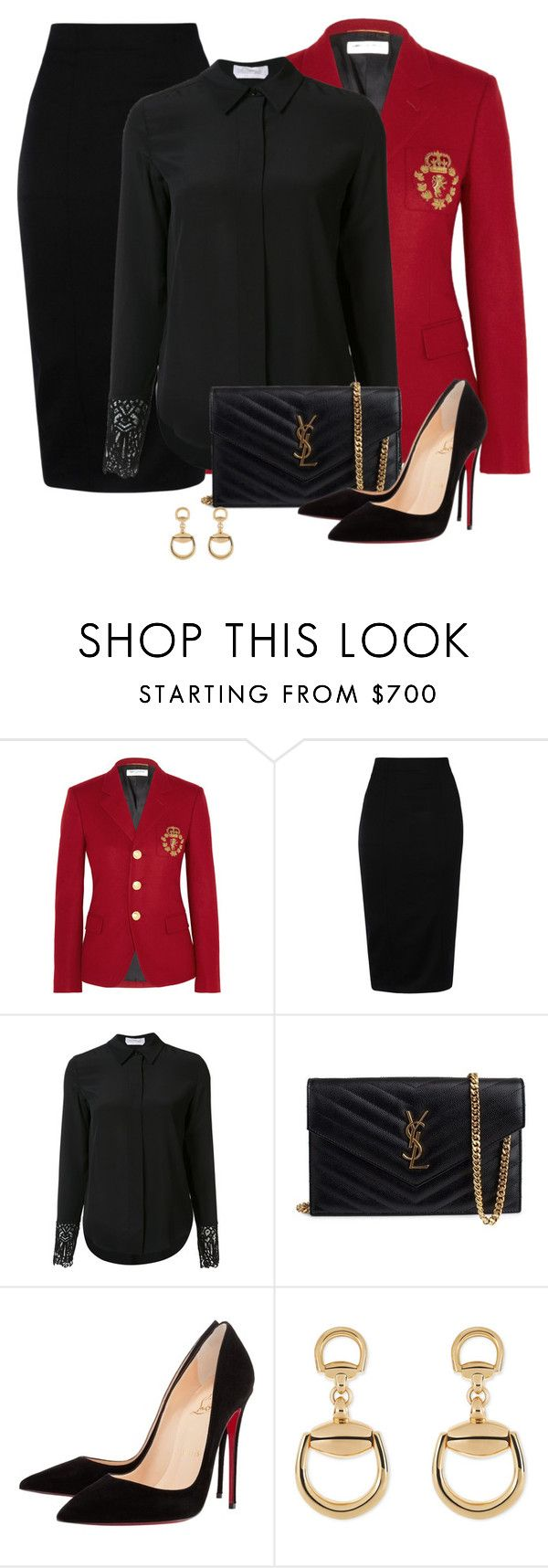 """""""Untitled #355"""" by tijana89 ❤ liked on Polyvore featuring Yves Saint Laurent, Olympia Le-Tan, Chloé, Christian Louboutin and Gucci"""