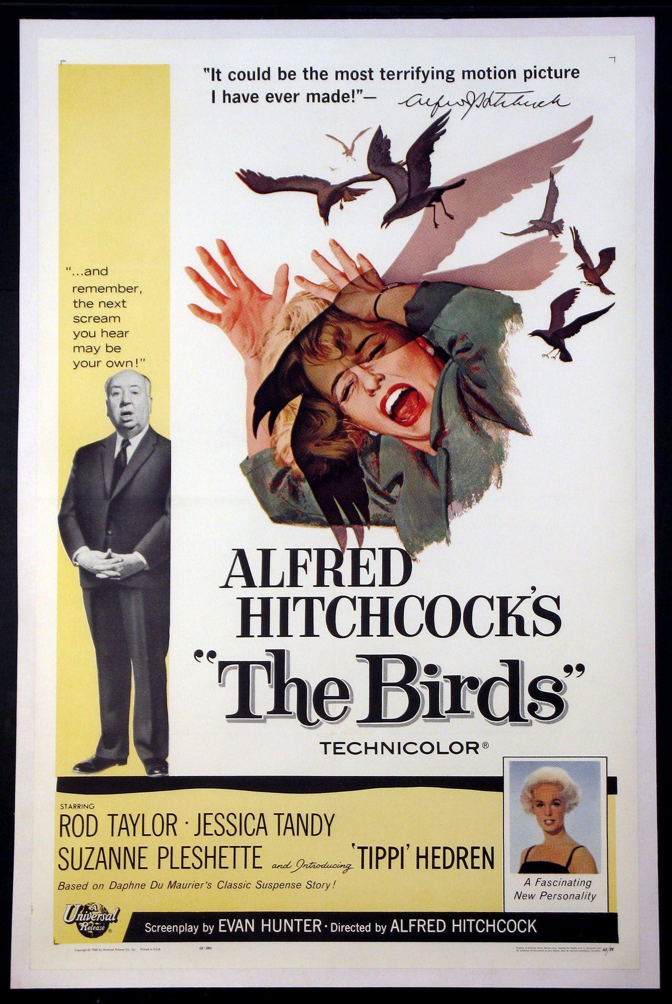 The Birds 1963 Original One Sheet Size 27x41 Movie Poster The Birds Movie Horror Movie Posters Alfred Hitchcock Movies