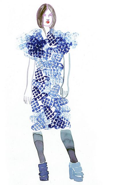 heart dress girl by samantha hahn illustration art blue