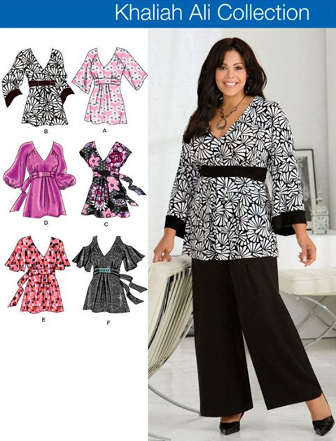 PLUS SIZE TOP Sewing Pattern - Women\'s Khaliah Ali Tops - 4 Sizes ...