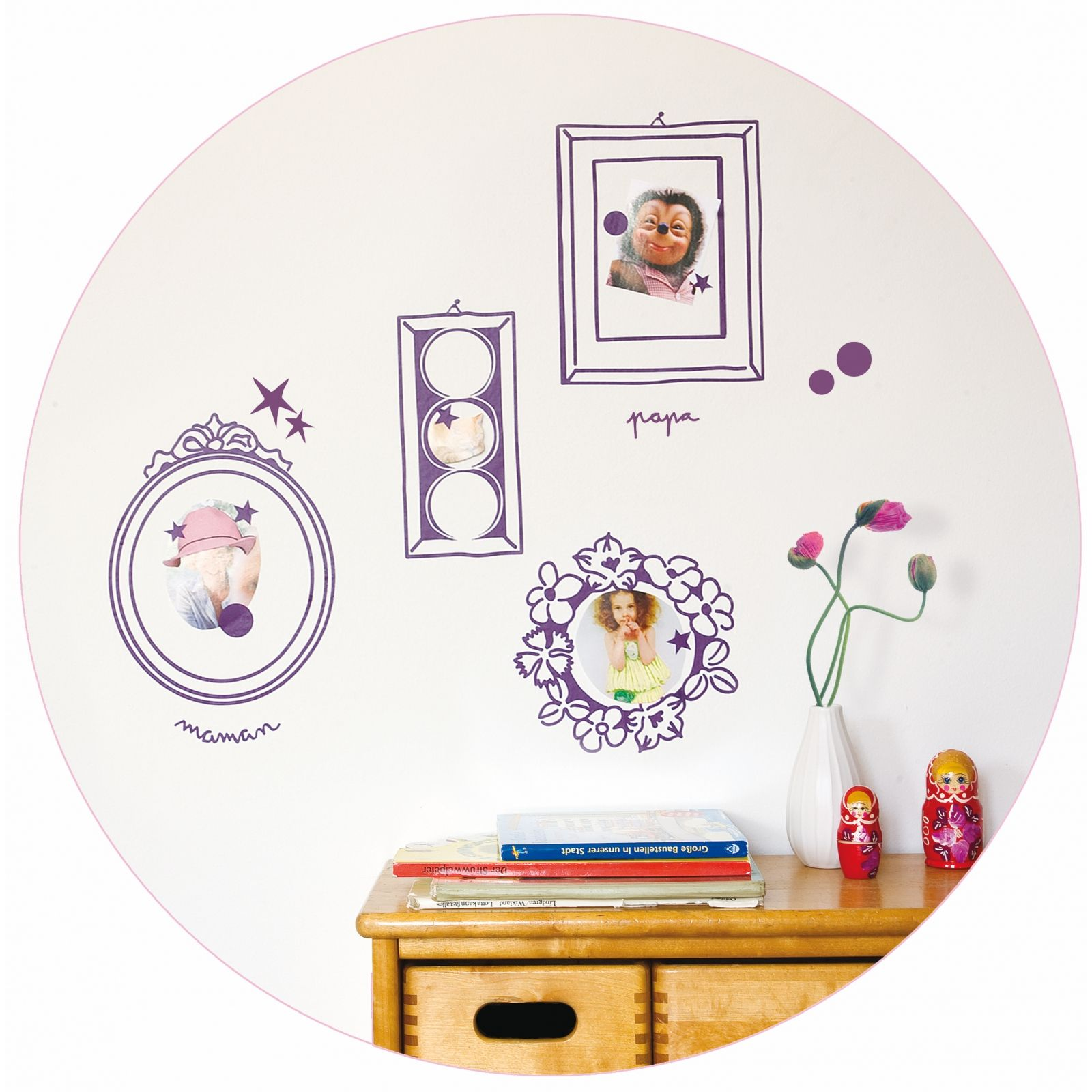 Stickers mural mes amours kit cadres violet 40 x 30 cm