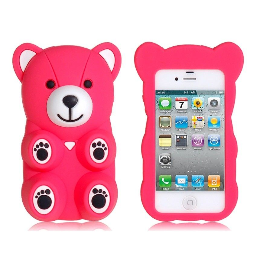 Amigo Cute 3D Bear Shape Protective Case For IPhone 4 4S Red