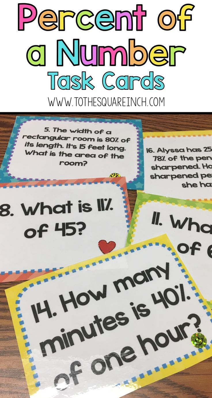 hight resolution of Percent of a Number Task Cards   Word problems