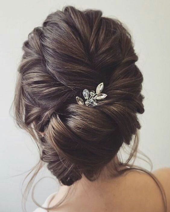 Elegant Bridal Updo With Accessories Long Hair Styles Hair Styles Wedding Hair Inspiration