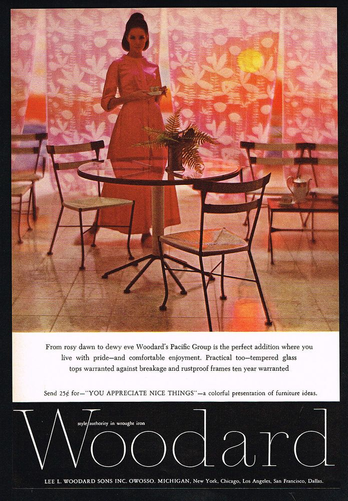 woodard wrought iron table chairs furniture photo vintage print ad