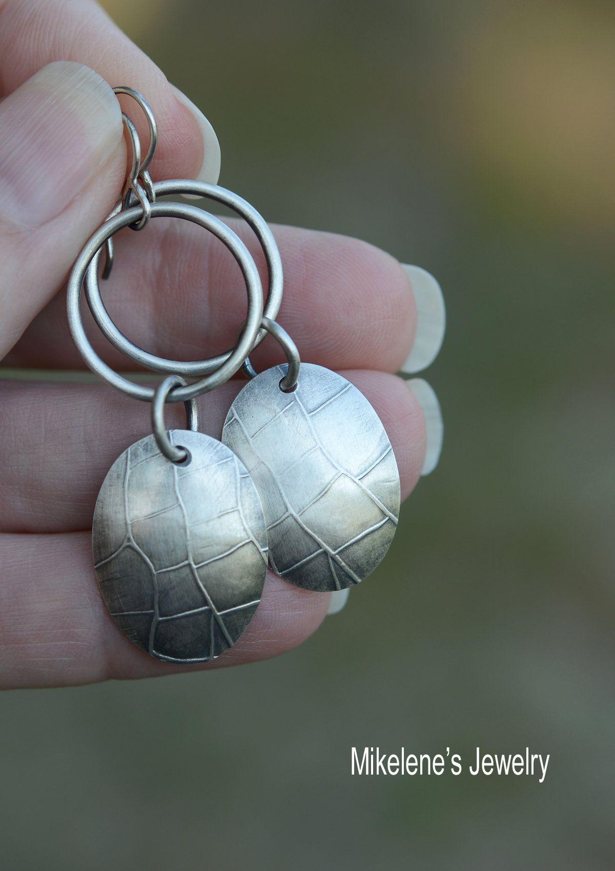 Patience ... roll printed sterling silver art to wear earrings by Mikelene Reusse Mikelene's Jewelry