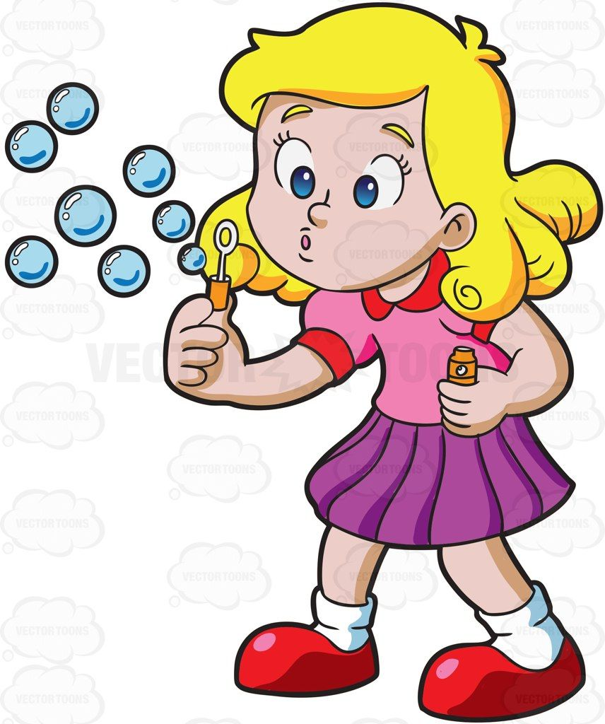 A Young Girl Blowing Bubbles Vector Illustrations