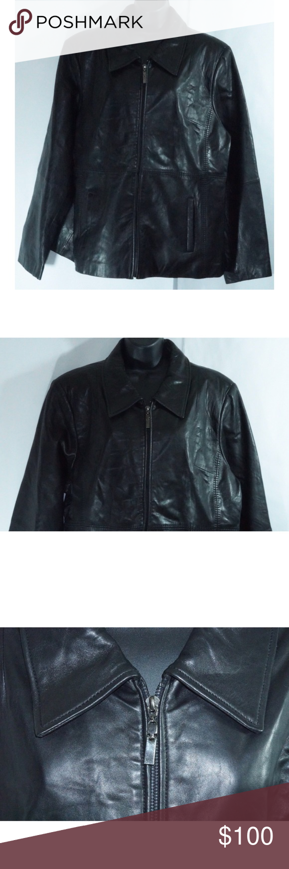 Jones New York Women S Black Leather Jacket 1x Leather Jacket Womens Black Leather Jacket Black Leather Jacket [ 1740 x 580 Pixel ]