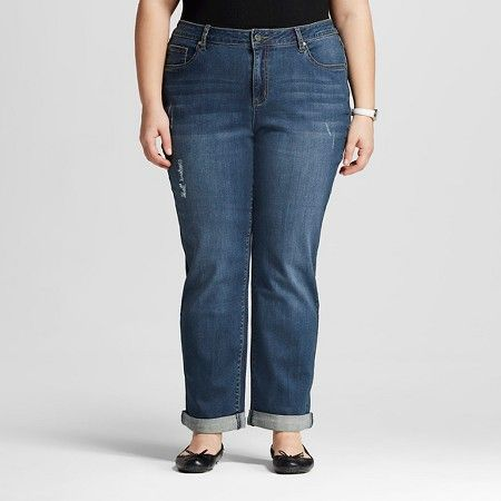women's plus size boyfriend jean medium wash - earl jeans : target