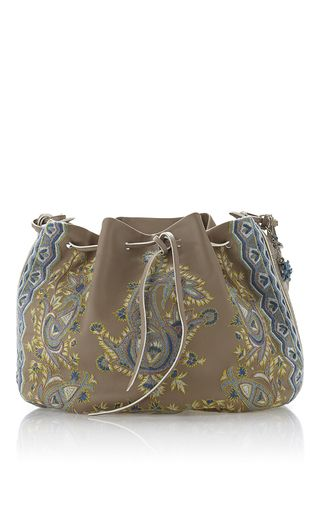 ba68906187c7 Taupe embroidered paisley drawstring bucket bag by ETRO for Preorder on  Moda Operandi