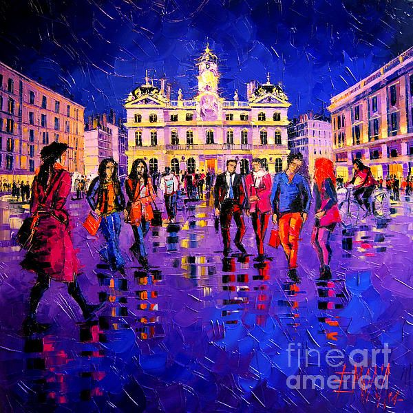 Lights and Colors in Terreaux Square by Mona Edulesco #lights #colors #paintings