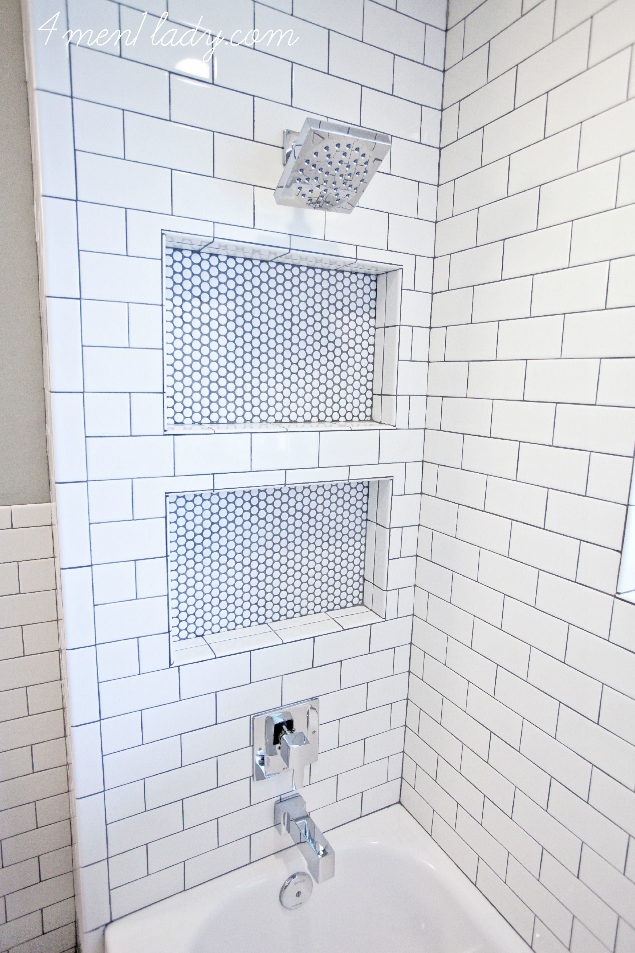 Shower cubies under shower head | $20k Bathroom Reno & Budget (labor ...