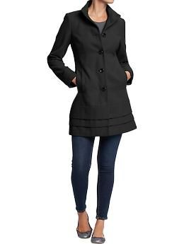 Womens Pleated Wool Blend Coats Old Navy Size M 65 00 Color Blackjack
