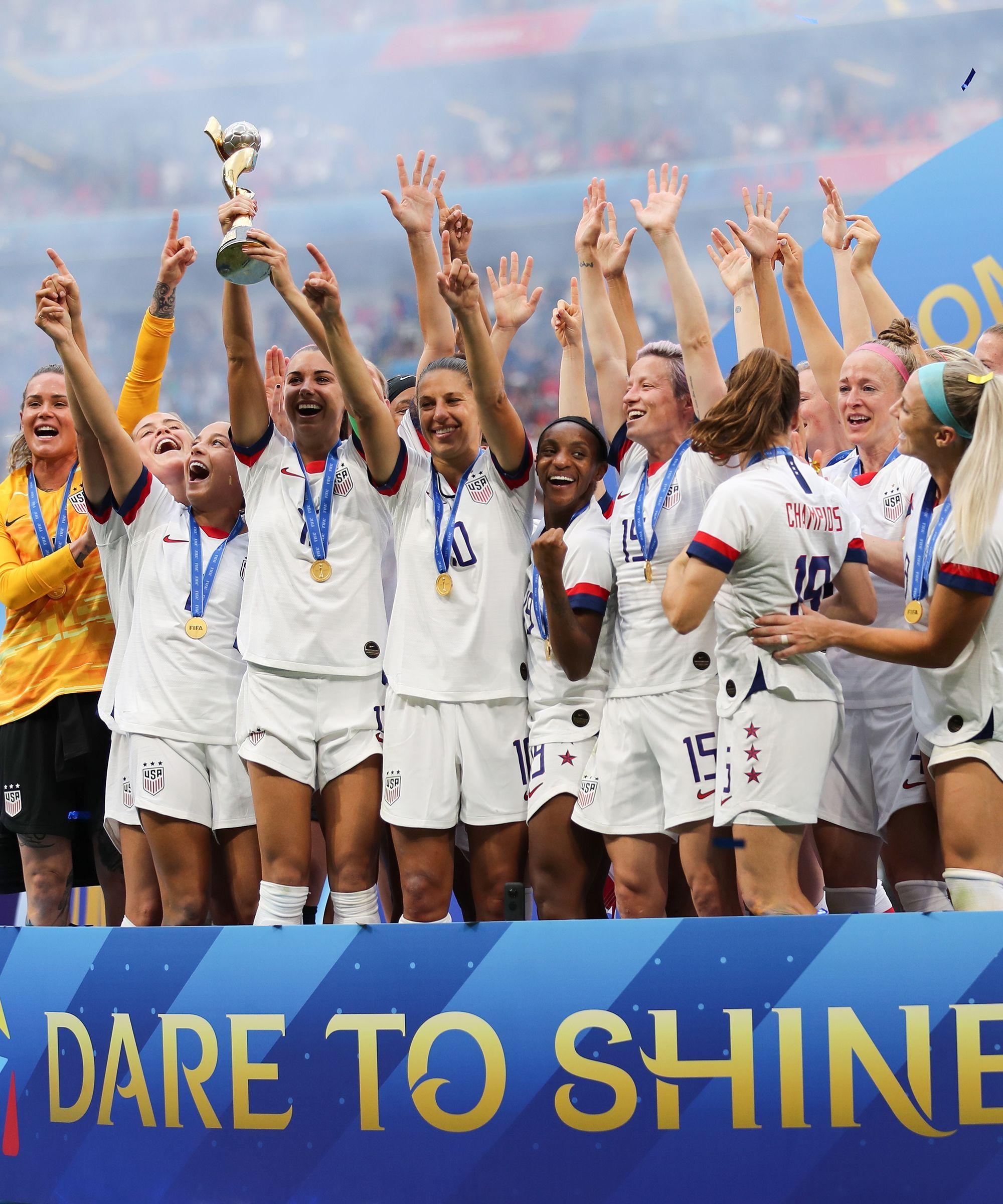 The U S Women S Soccer Team Takes Historic 4th World Cup Win Women S Soccer Team Soccer Team Womens Soccer