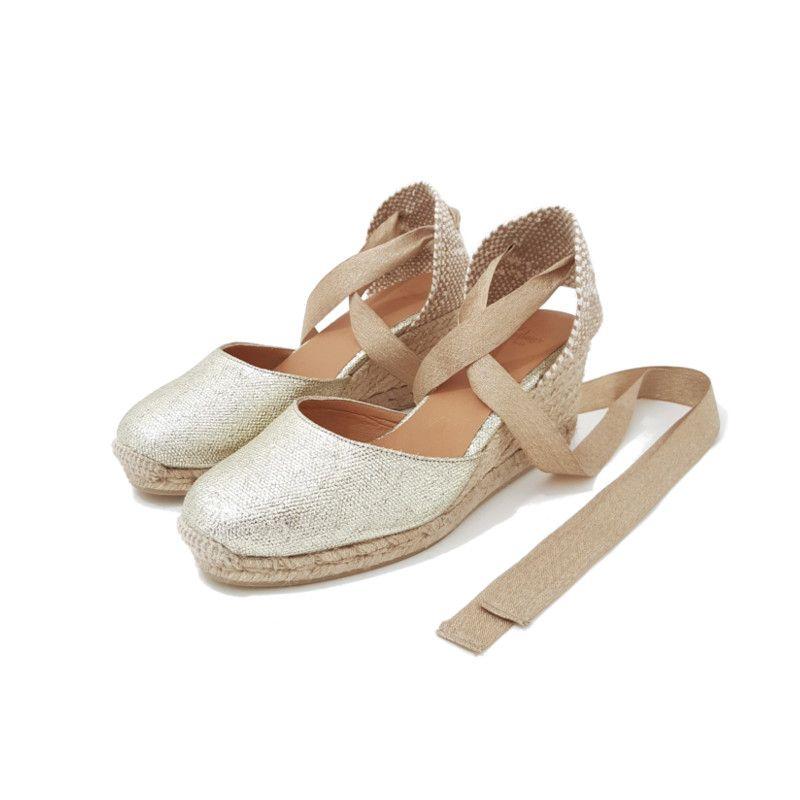 e31389447bbef ESPADRILLES Compensées Dorées CASTANER Espadrille tendance printemps été  2019. Chaussures dorées style boheme chic