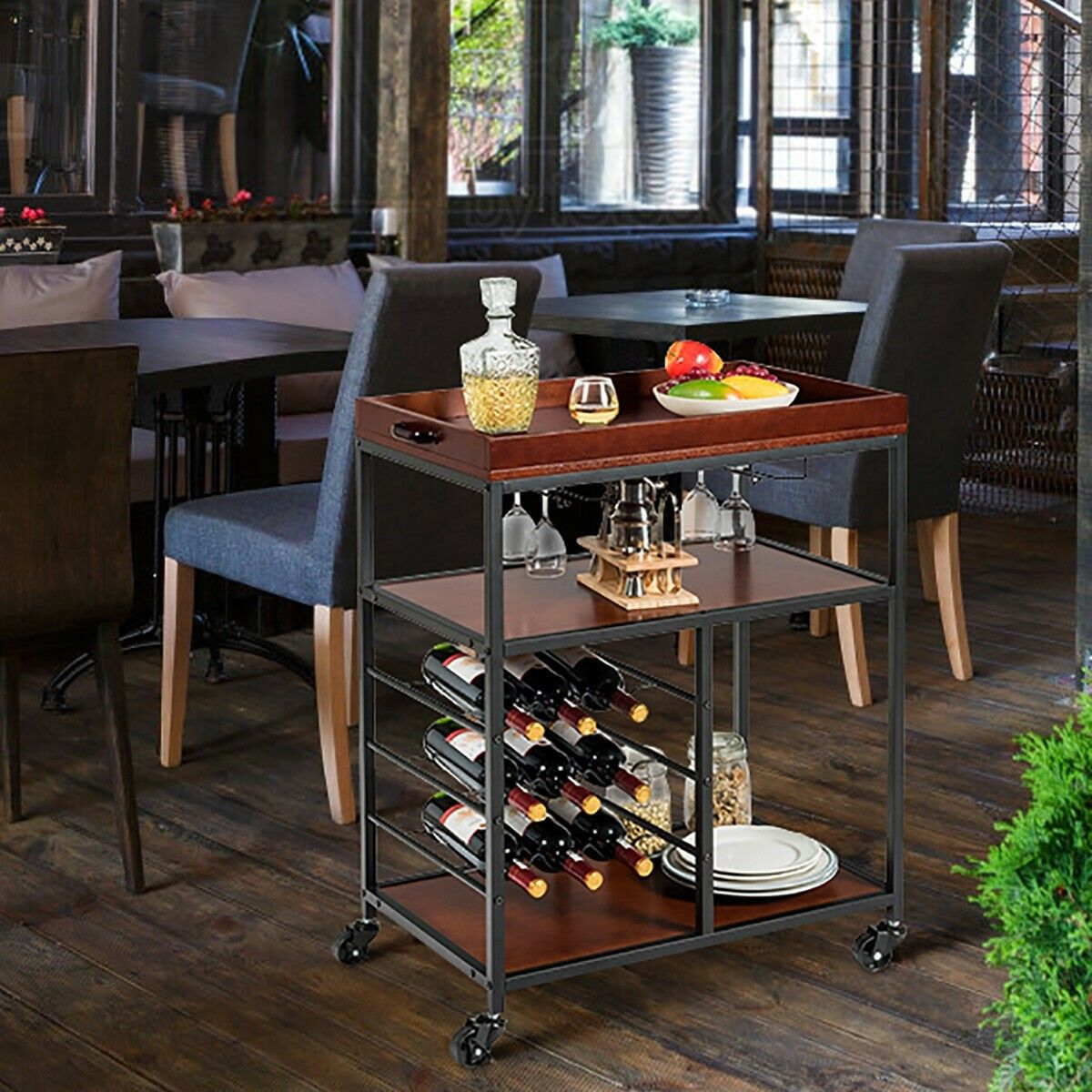 3 Tier Storage Bar Serving Cart With Wine Rack And Glass Holder Kitchen Island Furniture Kitchen Island Cart Kitchen Cart