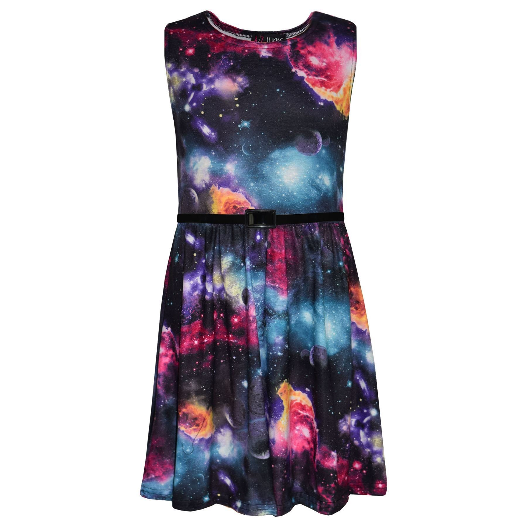 51dded61e520c Girls Skater Dress Kids Cosmic Print Summer Party Fashion Dresses Age 7-13  Years.