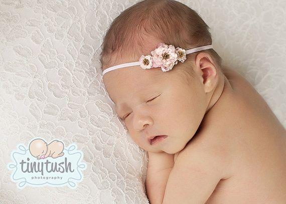 The Emma...three tiny delicate pink roses on skinny stretch headband...baby  headband...baby girl headband...flower headband on Etsy b1dbc3c7279