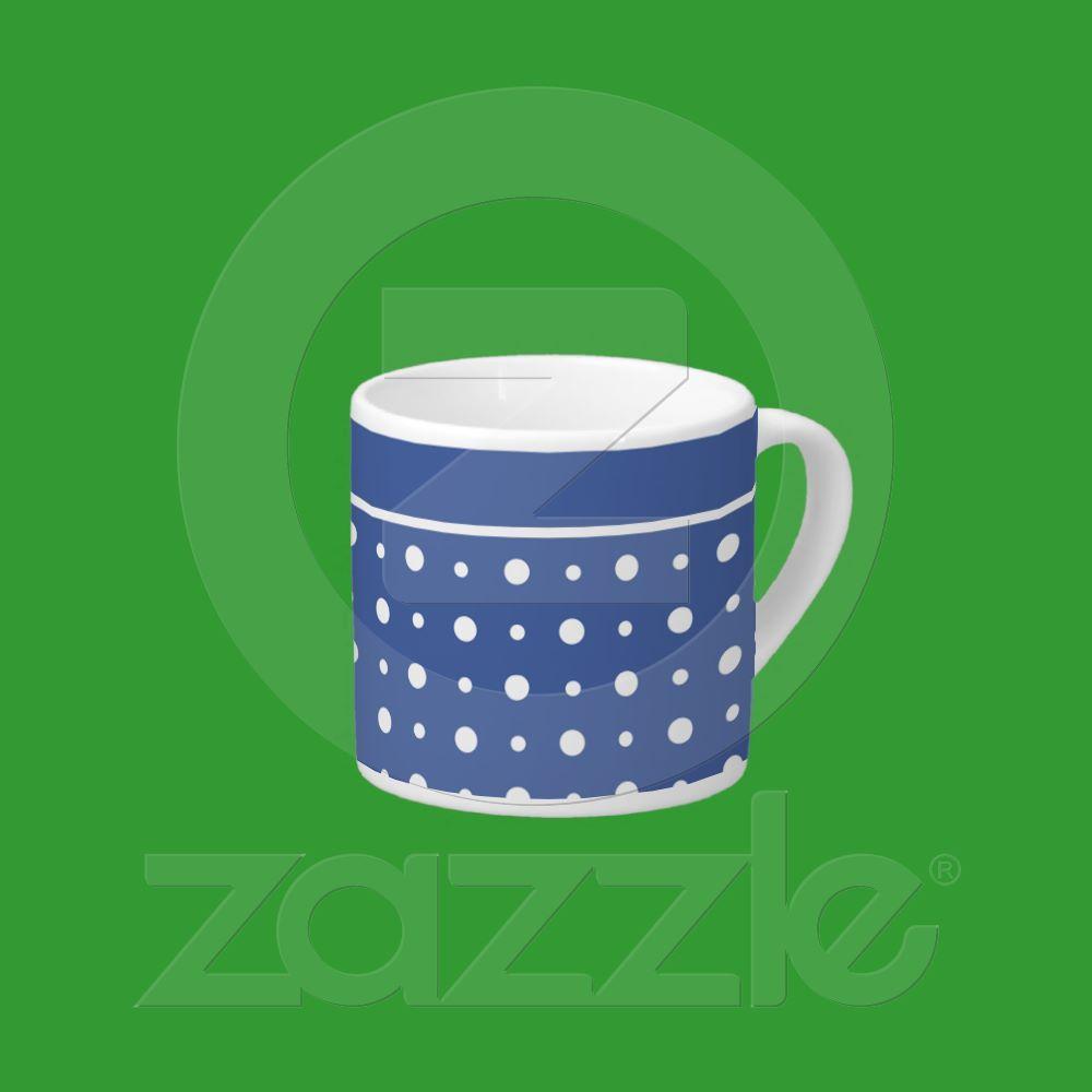 Stylish Espresso Coffee Mug, Dark Blue Polka Dots Espresso Mugs from Zazzle.com