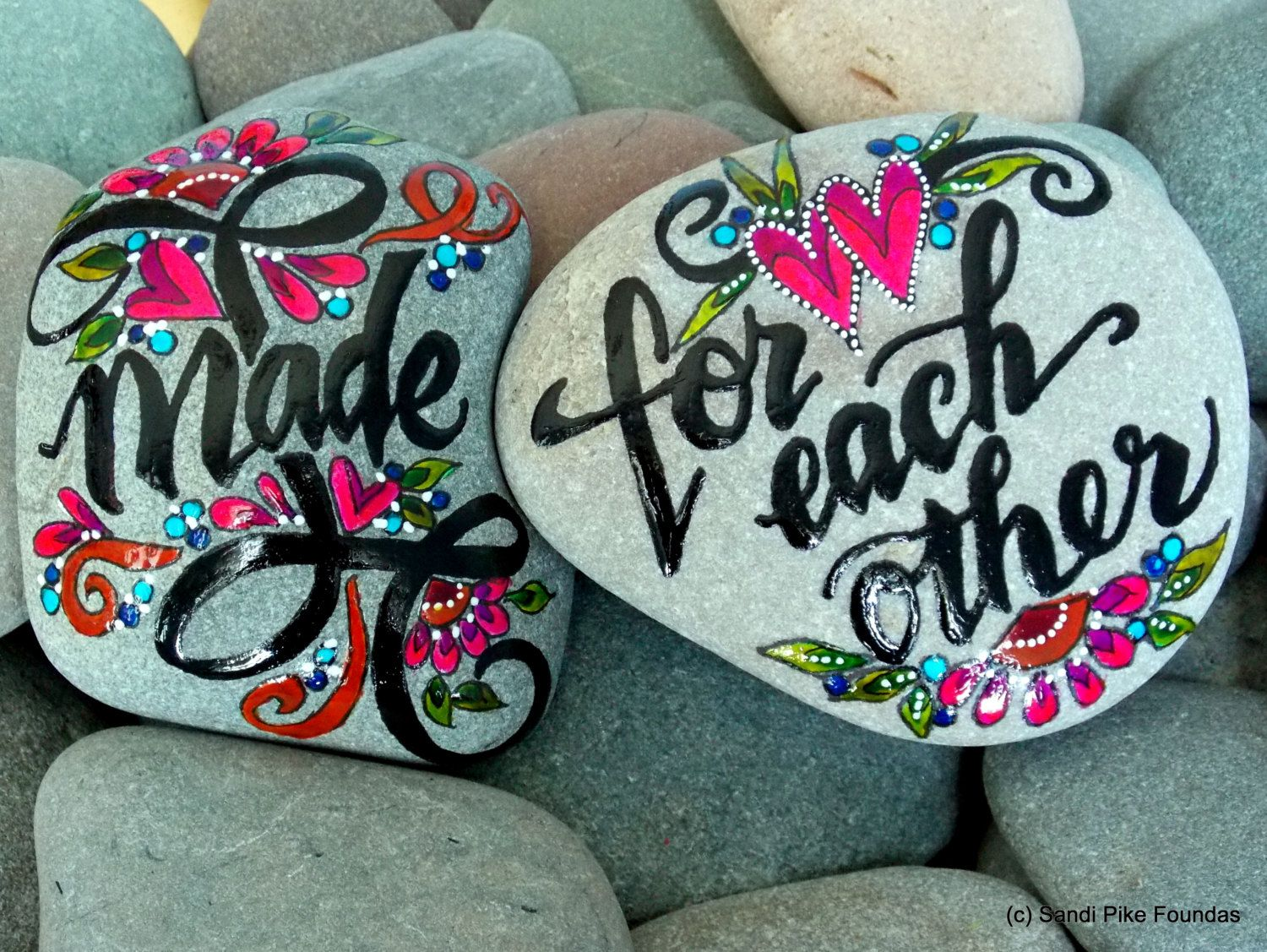 How Much Wedding Gift Per Couple: Made For Each Other / Pair Of Painted Rocks / Painted