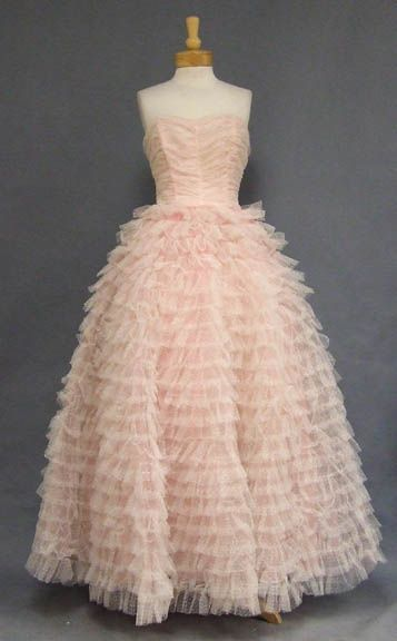 Pink & White Tulle 1950's Ball Gown