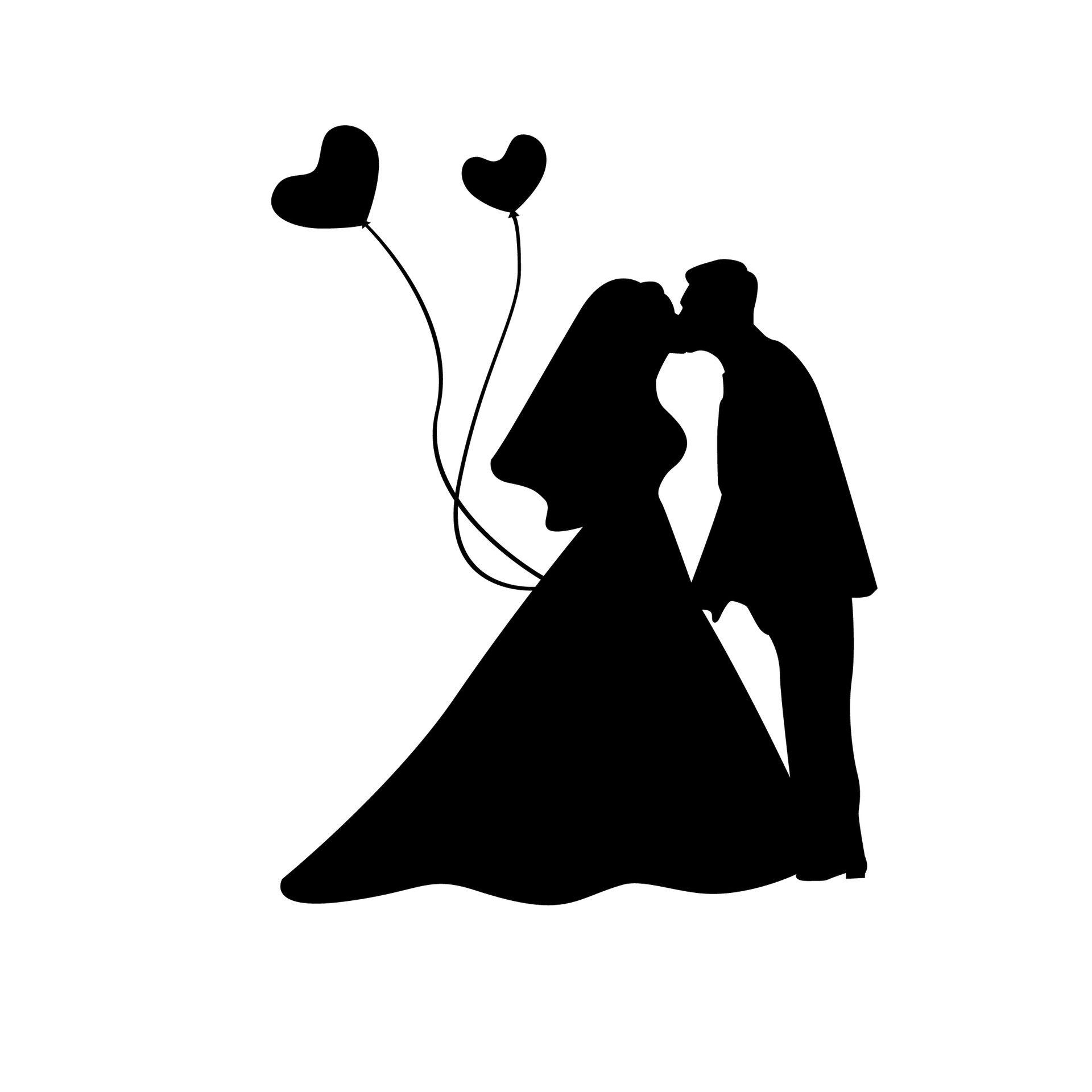 Kiss wedding. Heart couple love clipart