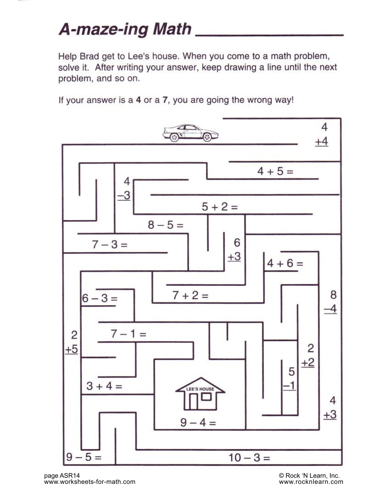 Here S A Fun Worksheet To Practice Your Math Skills Help Brad Get To Lee S House When You Come To A Math Worksheets Problem Solving Worksheet Maze Worksheet
