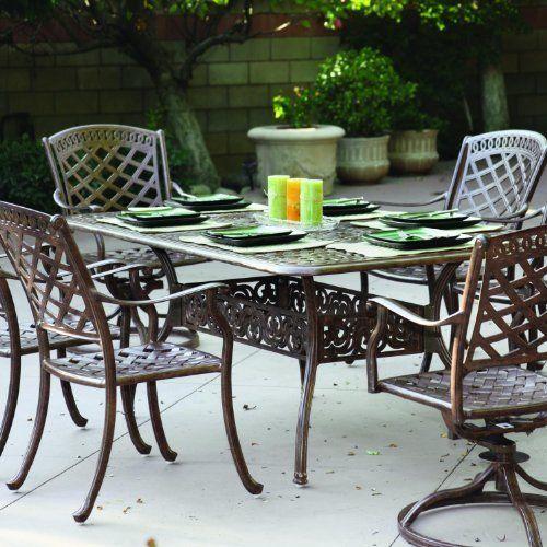 darlee sedona 6 person cast aluminum patio dining set antique