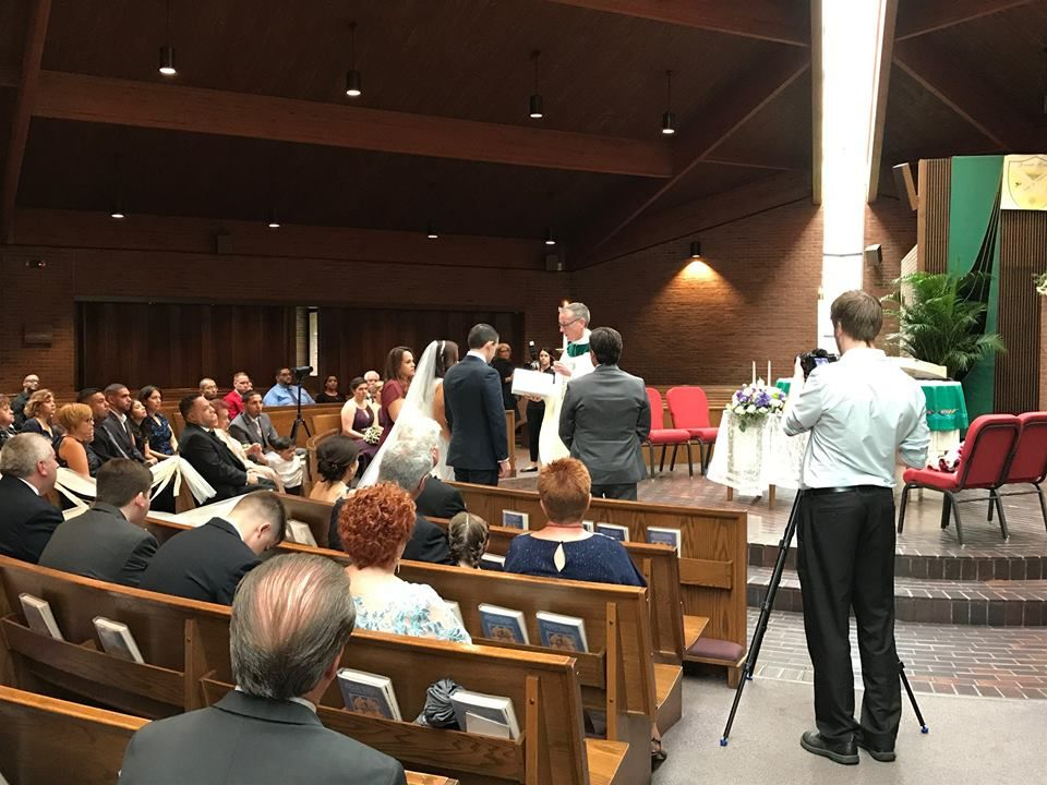 Priscilla and Brendan had a Catholic mass for their