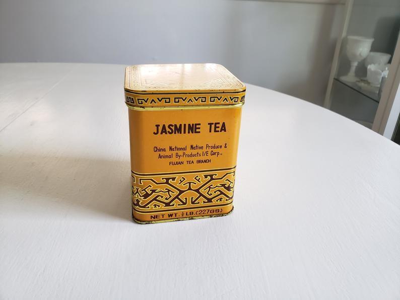 Vintage Jasmine Tea Multi-Lingual Tin Antique Style Fujian | Etsy