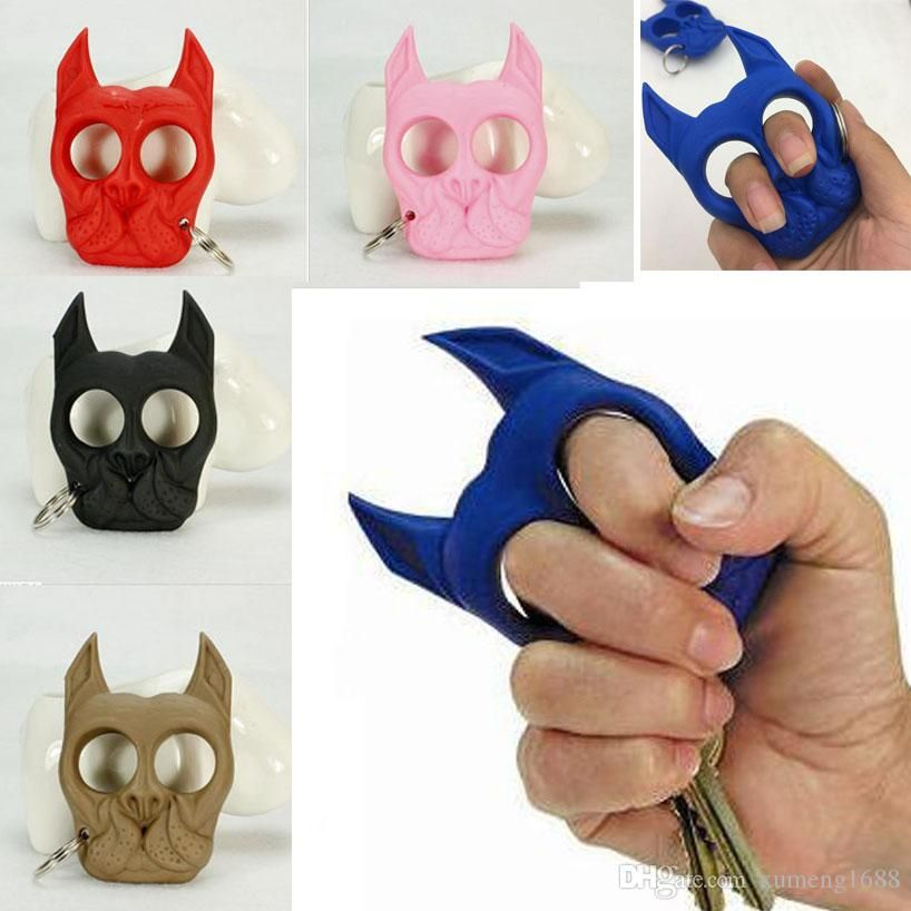 Multi Color Brutus Bulldog Protection Self Defense Key Chain Dog Skull Shaped Personal Security Tools Women Self Defense Keychain