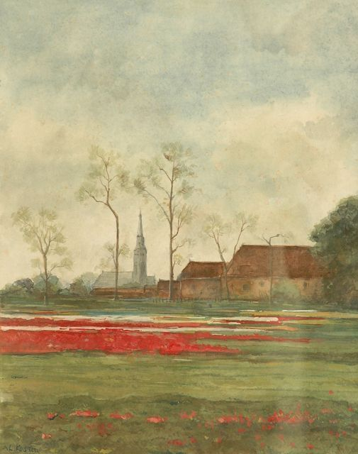 Koster A.L.    Farmland with church tower at the background, watercolour on paper 36.0 x 28.0 cm., signed l.l. and dated 1930