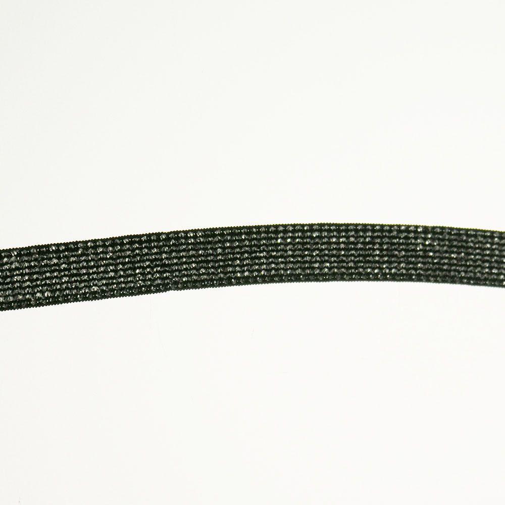 """Elastic Fabric Trim Metallic 5/8"""" (144 Yard Roll) Black/Silver"""