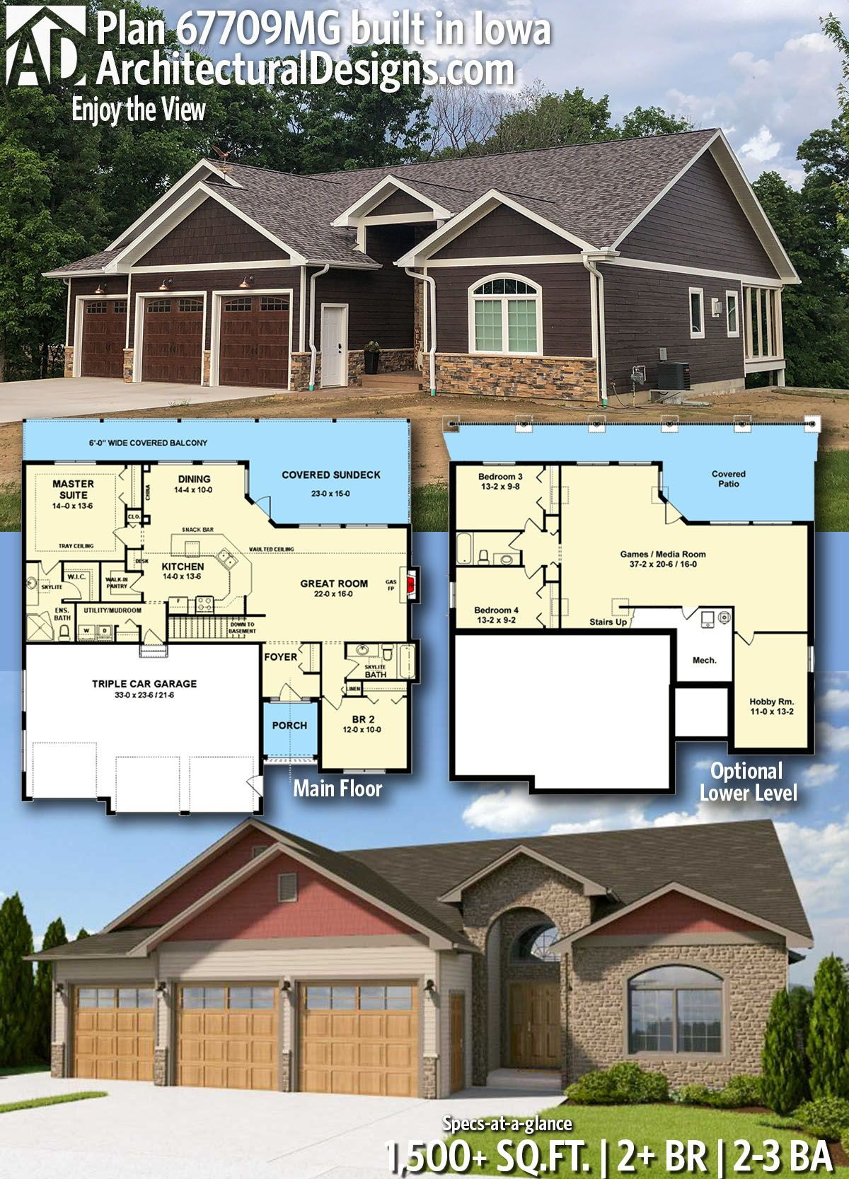 Architectural designs home plan mg comes to life in iowa this gives you also enjoy the view house plans with stories rh pinterest