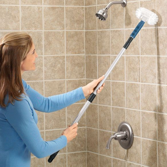 Long Handle Tub Scrubber Zoom All Cleaning BathroomKitchen - Cleaning bathroom wall tiles